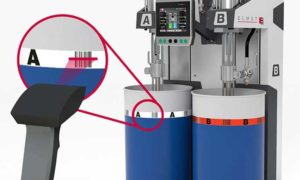 Elmet's barcode system eliminates drum mix-ups during silicone injection moulding